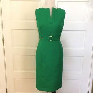 Tahari ASL Green Sheath Dress split V size 6